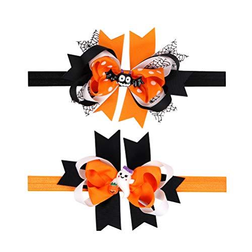 Lurrose Diadema para el pelo de Halloween para niñas y bebés, accesorio para el pelo para niños (murciélago + pequeño hombre blanco)