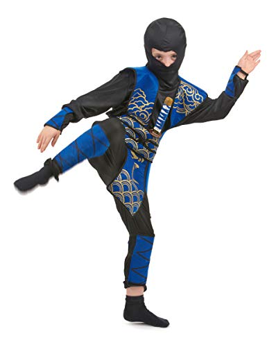 Generique - Déguisement Ninja Bleu et doré garçon S 4-6 Ans (110-120 cm)