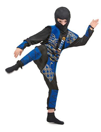 KULTFAKTOR GmbH Gefährlicher Ninja Kinderkostüm Krieger schwarz-blau 134/140 (10-12 Jahre)