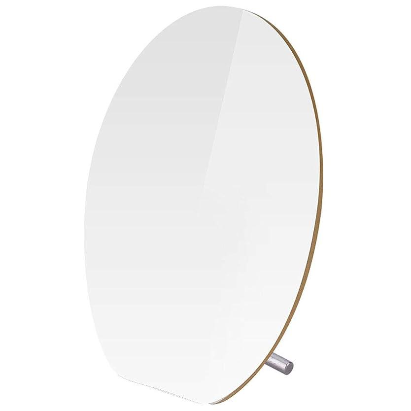 災難ヤギ不和バスルーム用化粧鏡 スタンド付きの丸い木の小さなメイクアップミラー、壁のための卓上のバスルームミラー、調整可能な化粧鏡化粧鏡