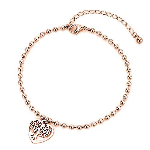 U/N Women's Letter Love Anklet Bracelet Girl Anklet Heart Shaped Sun Coconut Tree Beaded Leg Chain Foot Gift-3