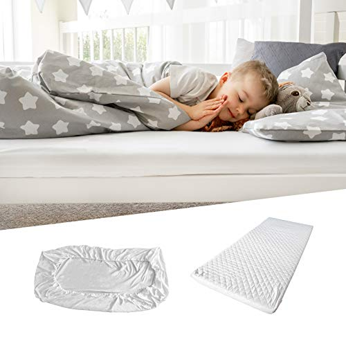 Alcube Comfort Foam Children Cot Mattress 80x160 cm Breathable Hypoallergenic Baby Mattress SET with Fitted Sheet and Washable Cover
