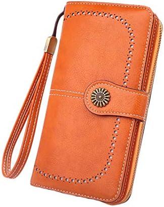 Andongnywell Women's RFID Blocking Large Capacity Leather Clutch Zip Around Wristlet Wallet Travel Purse (Orange)