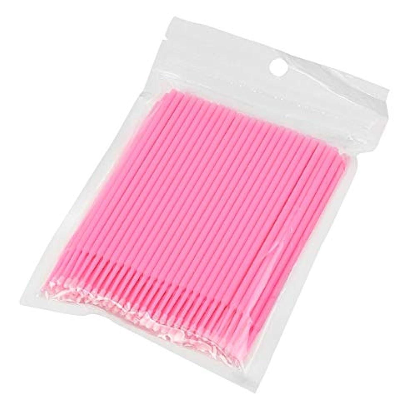 勃起路面電車パレード100ピース使い捨てマイクロブラシ綿棒アプリケーターチューブ用まつげエクステンション接着剤除去まつ毛グラフトツール(Color:Pink)