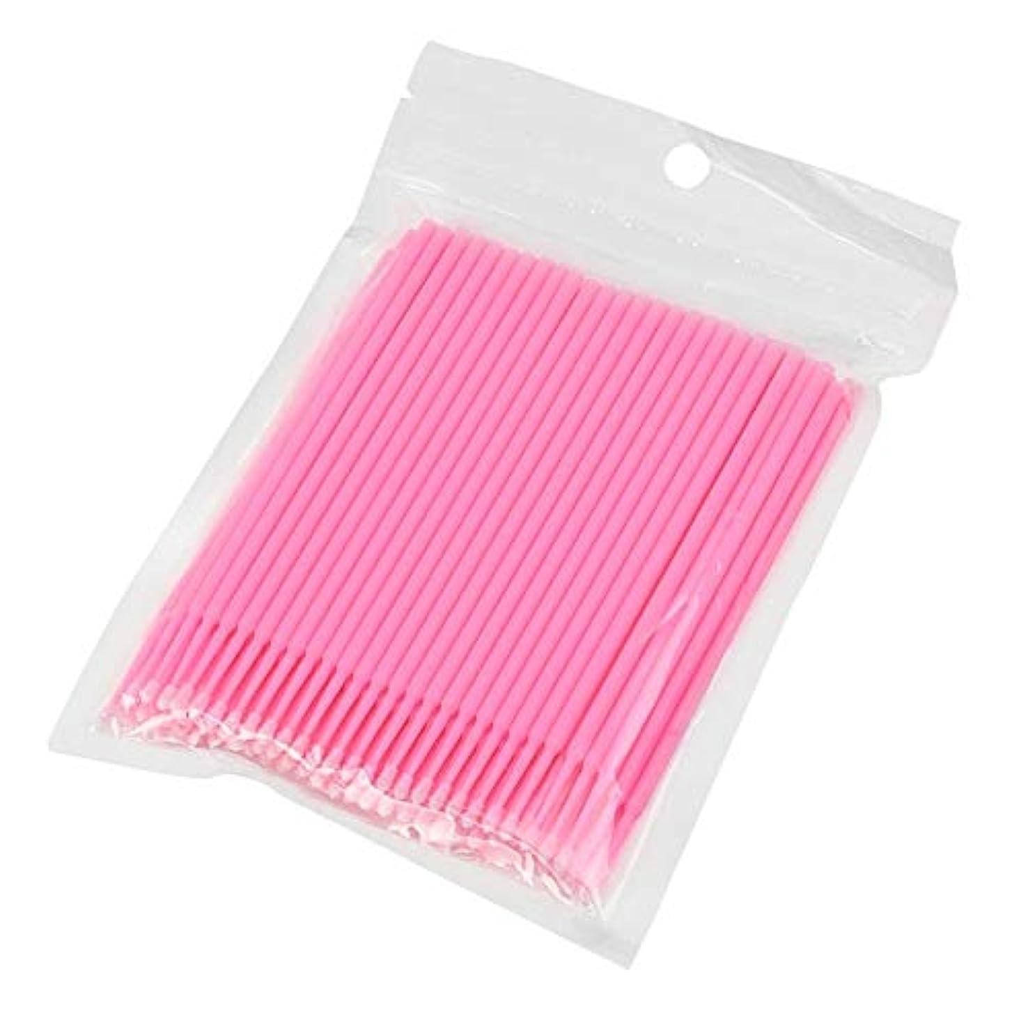 失礼な怠なマナー100ピース使い捨てマイクロブラシ綿棒アプリケーターチューブ用まつげエクステンション接着剤除去まつ毛グラフトツール(Color:Pink)