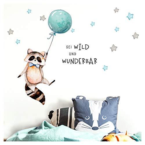 Little Deco Sticker Spruch sei wild & Waschbär I Wandbild L - 189 x 88 cm (BxH) I Luftballon Wandbilder Wandtattoo Kinderzimmer Junge Tiere Deko Babyzimmer Kinder DL324