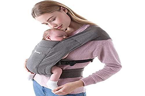 Ergobaby Babytrage für Neugeborene ab Geburt Extra Weich, Embrace Bauchtrage Baby-Tragetasche Ergonomisch, Heather Grau