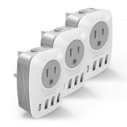 [3-Pack] UK Ireland Travel Plug Adapter, VINTAR International Power Adaptor with 1 USB C Compatible with iPhone 11/11 Pro / 11 Pro Max, 2 American Outlets and 3 USB Ports, 6 in 1 European Plug Adapter