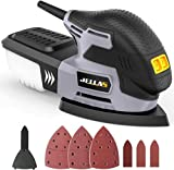 JELLAS Detail Mouse Sander, Compact Electric Sander for Wood, 13,000 RPM Sanders, 2 Amp Hand Sander with 12PCS Standard Sandpapers, Sanding Pads Included, MS220-SD