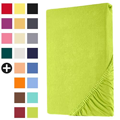 Heim24h Spannbettlaken Jersey Spannbetttuch Bettlaken mit Einer Steghöhe von 18 bis 30 cm 100% Baumwolle Hochwertig elastisch atmungsaktiv und weich Apfelgrün 140x200-160x200 cm