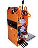 JIAWANSHUN Manual Milk Tea Cup Sealing Machine Electric Cup Sealer for 180mmTall and 90mm/95mm Diameter Cup 300-500 Cups/Hour (110V)