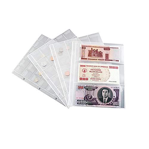 1 Uds, Papel, Billetes, Papel, álbum, página, Soporte de Recogida, Mangas, 3 Ranuras, Hoja Suelta, protección de álbum