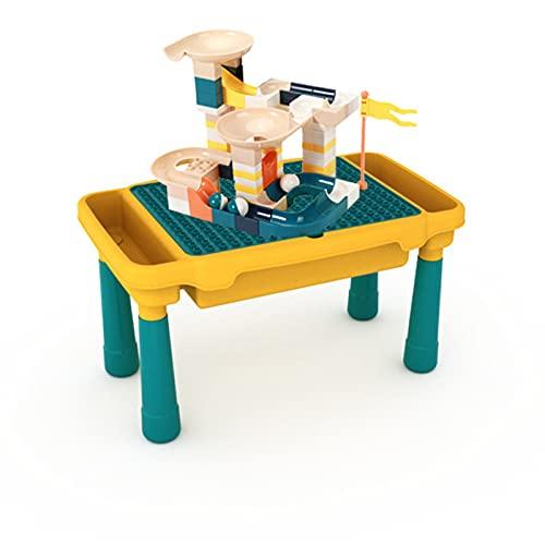 Juego mesa y silla niños, mesa de actividades múltiples 4 en 1 con 90 bloques construcción grandes, juguetes construcción compatibles con ladrillos educativos, regalo ideal para Niño,Table and Chair