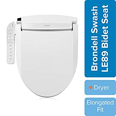 Brondell LE89 Swash Electronic Bidet Seat LE89, Fits Elongated Toilets, White – Side Arm Control, Warm Air Dryer, Strong Wash Mode, Stainless-Steel Nozzle, Nightlight and Easy Installation, LE89
