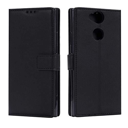 DENDICO Coque Sony Xperia XA2, Ultra Mince Coque de Protection en Cuir pour Sony Xperia XA2, Portefeuille Housse avec Stand Support et Carte de Crédit Slot - Noir