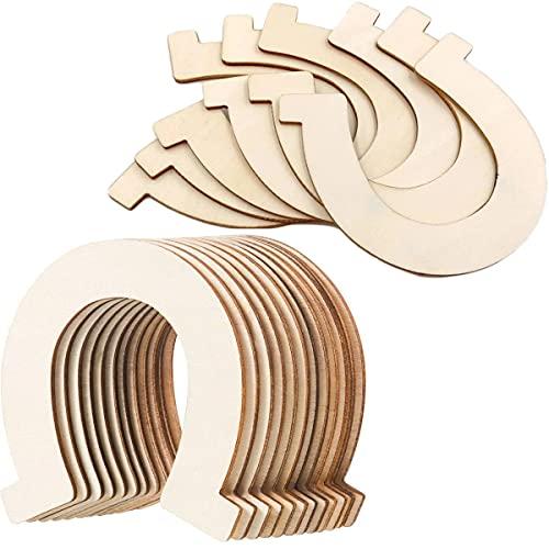24 discos de madera de herradura, cortes de madera sin terminar, para manualidades, decoración para manualidades, bodas, cumpleaños, fiestas, colgantes de regalo, fiestas de bebé, decoración de corona