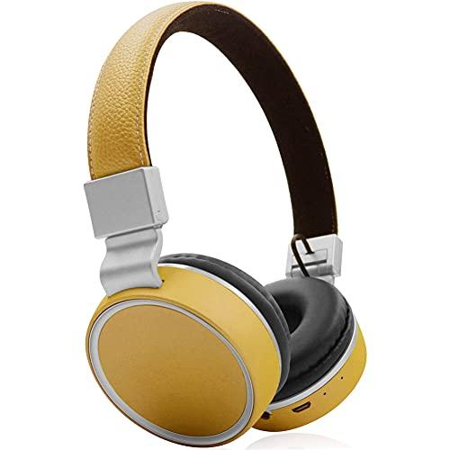 XJPB Auriculares de cancelación de Ruido Activo Bluetooth inalámbrico sobre Auriculares para el oído con micrófono Ligero bajo bajo,Amarillo