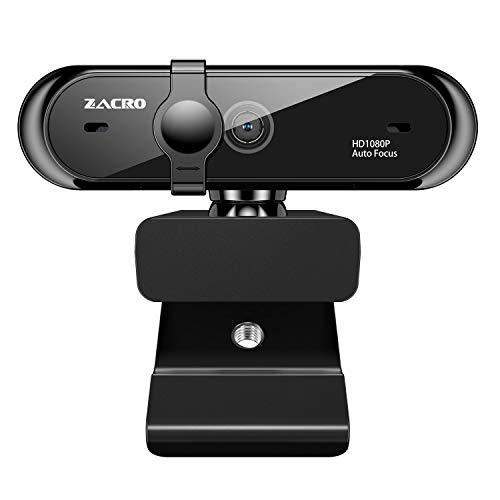 Zacro Webcam mit Mikrofon, Autofocus-Webkamera mit Abdeckung, Full HD 1080p/30fps Eingebautes Doppelter Rauschunterdrückung Mikrofon Clip On, Computer Laptop Kamera USB Plug & Play für Videokonferenz