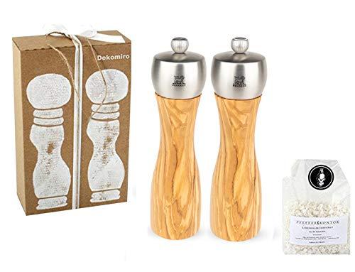 Peugeot Set Fidji zoutmolen en pepermolen 20 cm olijfhout Dekomiro cadeauset met 100 gram Zout.