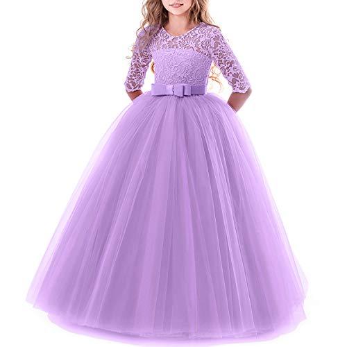 Vestito Elegante da Ragazza Festa Cerimonia Matrimonio Damigella Donna Sposa Prima Comunione Battesimo Carnevale Viola 9-10 Anni