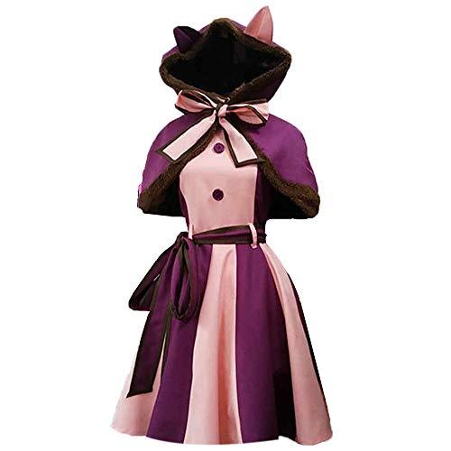 Qingge Cheshire Katze Alice im Wunderland Kostüm Erwachsene Frauen Mädchen Halloween Cosplay Kostüm mit Schürze Stirnband Socken