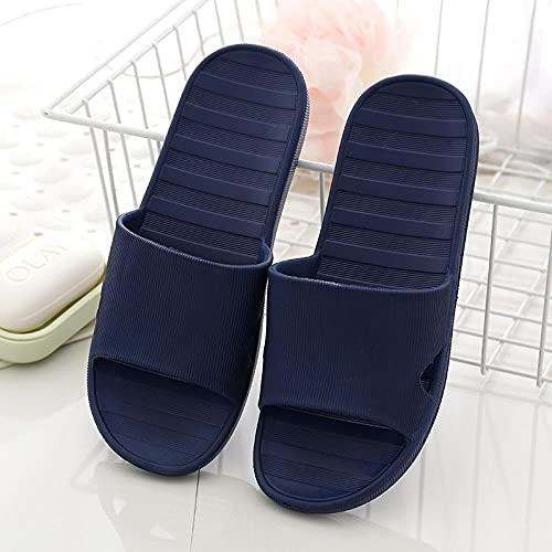Sandalias Suaves Mujer Casa Baño Zapatillas de baño resbaladizas, Hotel Casa de Familia Sandalias de Punta Abierta Antideslizantes Zapatos de jardín Azul Marino EU39-40