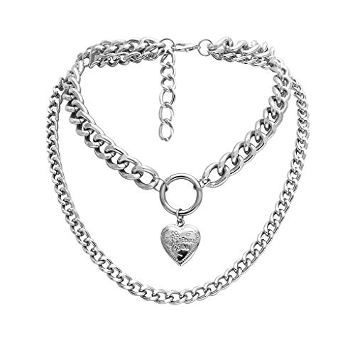jieGorge Necklaces & Pendants, Chunky Gold Necklace Lock Padlock Locket Pendant Coin Curb Chain Layering Silver, Jewelry for Women Gifts (Silver)