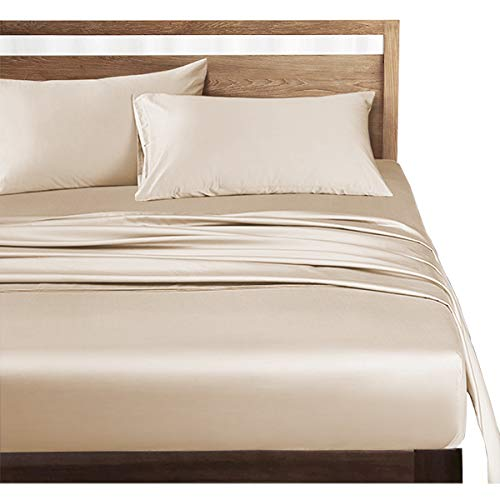 ボックスシーツ クイーン 高级綿100% ホテル品質 シーツ ベッドシーツ サテン織り 300本高密度生地 マットレスカバー 防ダニ 抗菌 滑らか 柔らかい (ベージュ, ボックスシーツ(クイーン-160×200×30cm))