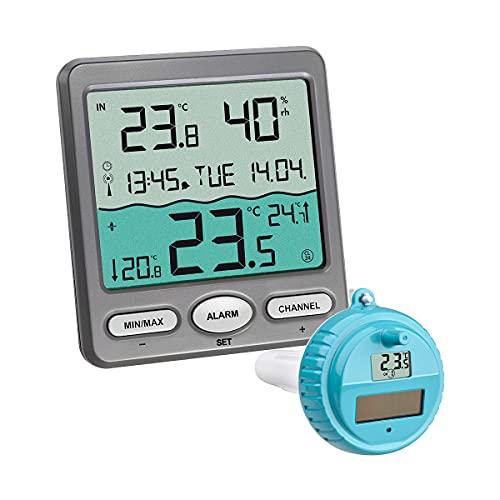 TFA Dostmann Venice Poolthermometer, 30.3056.10, zur Überwachung der Wassertemperatur in Pool, Teich oder Whirlpool Digitales Funk-Poolthermometer, Grau