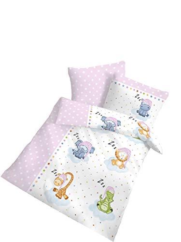 Träumschön Parure de lit pour bébé 100 x 135 cm | Animaux endormants roses et blancs | 100 % coton | Parure de lit en flanelle 100 x 135 cm & Taie d'oreiller 40 x 60 cm | Fabriqué en Allemagne