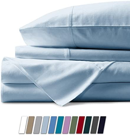 """1000 Thread Count Best Bed Sheets 100% Egyptian Cotton Sheets Set – Light Blue Long-Staple Cotton Queen Sheet for Bed, Fits Mattress Upto 18"""" Deep Pocket, Soft & Silky Sateen Weave Sheets"""