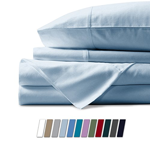 Mayfair Linen 100% Egyptian Cotton Sheets, Sky Blue California King Sheets Set, 600 Thread Count Long Staple Cotton, Sateen Weave for Soft and Silky Feel, Fits Mattress Upto 18'' DEEP Pocket