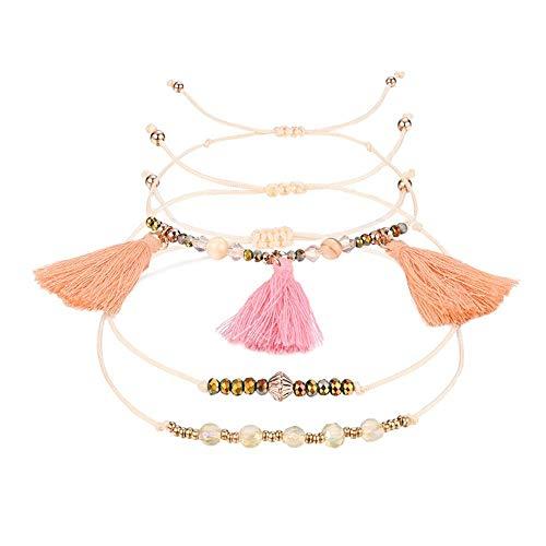 Rice Beads Embellished Orange and Orange Tassel Bracelet Size Adjustable Niche Bracelets, Girl/Lady Fashion Jewelry