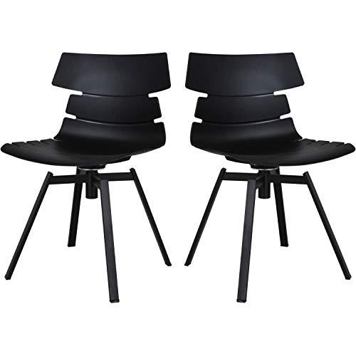 mokebo® Drehstuhl 'Der Kuriose' schwarz Metall im 2er Set, als Stuhl, Esszimmerstuhl oder Designer Stuhl mit Drehgestell, 2er-Set, Mattschwarz