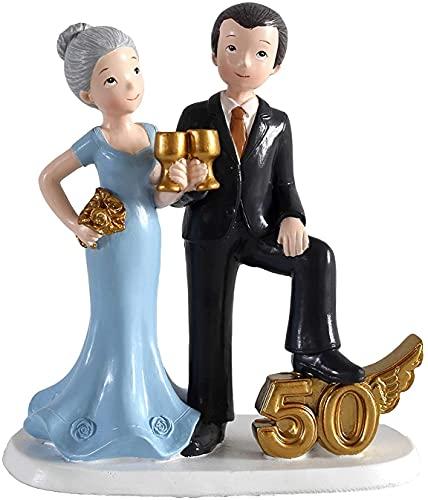 MIRVEN - Figura Pastel 50 Aniversario Copas - Figuras Aniversarios Bodas de...