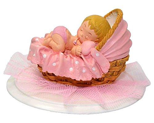 Polyhars opzetstuk meisjes, taarthouder baby in mand, Ø 11,4 cm roze, blond