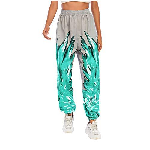 Pantaloni sportivi da donna, lunghi, da jogging, da allenamento, con stampa a fiamma, pantaloni per il tempo libero verde XL