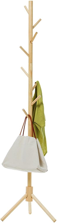 ZHIRONG Coat Rack Floorstanding Solid Wood 8 Hooks Hangers 175  45CM (color   Wood color)