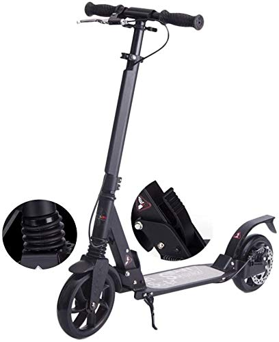 LSK Patinete Scooter de Patada Negra con Frenos de Disco para Adolescentes Adultos, Plegable Ajustable, suspensión Dual, Correa de Hombro, Ruedas Grandes, Soporte 100 kg, no eléctrico