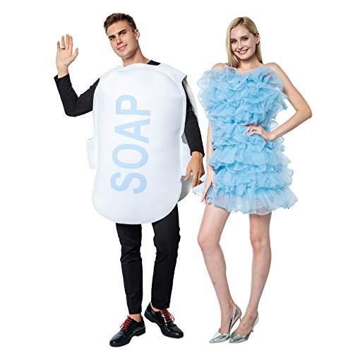 EraSpooky Disfraz de Loofah y Jabón Unisex Disfraces Fiesta de Halloween Traje Divertido para Parejas Mujeres Adultas Hombres