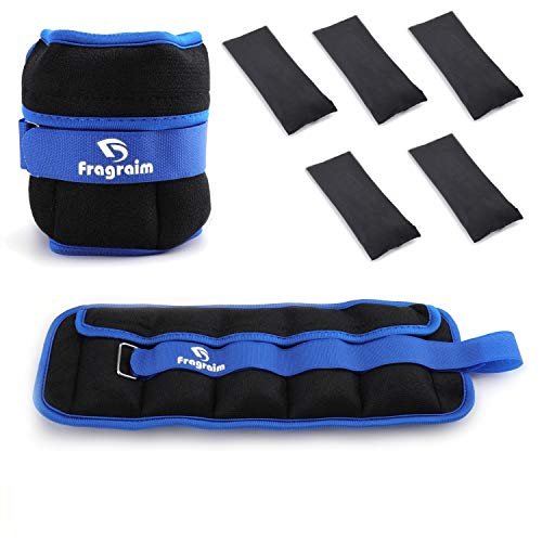 Fragraim Adjustable Ankle Weights 1-5 LBS Pair with Removable Weight for Jogging, Gymnastics, Aerobics, Physical Therapy, Resistance Training|0.5-2.5 lbs Each Pack, 2 Pack, Blue