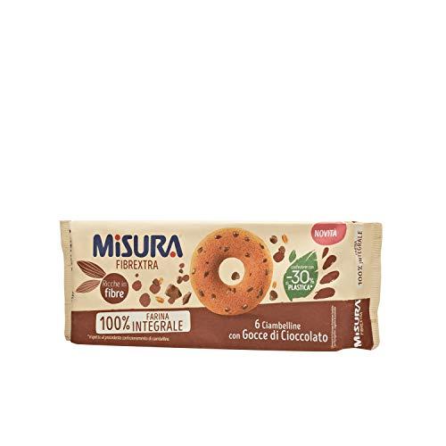 Misura Ciambelline con Gocce di Cioccolato Fibrextra   100% Farina Integrale   Ricche in Fibre   Confezione da 230 grammi