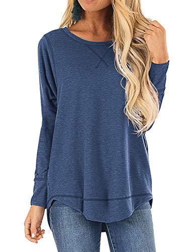 HIYIYEZI Womens O Neck Sweatshirt Side Split Loose Casual Plus Tee Shirts (2X-Large,Blue)