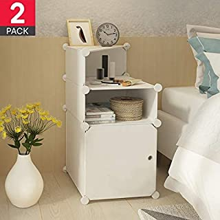 Bedside Table Night Stand end Tables Side Tables Bed Side Night Stands for bedrooms with Storage Organizer Cabinet with Door (White 3-Tier)