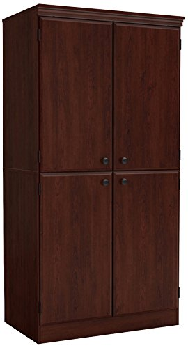 South Shore Tall 4-Door Storage Cabinet with Adjustable Shelves, Royal Cherry