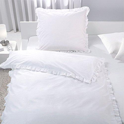 7dreams® Romantische Bettwäsche mit Rüschen Weiß 100% Baumwolle 135x200cm / 80x80cm - besonders weich - mit Reißverschluss - mit Öko-Tex Siegel Standard 100: