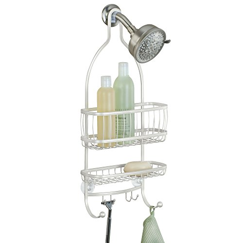 "iDesign York Metal Wire Hanging Shower Caddy, Extra Wide Space for Shampoo, Conditioner, and Soap with Hooks for Razors, Towels, and More, 10"" x 4"" x 22"", Pearl White"