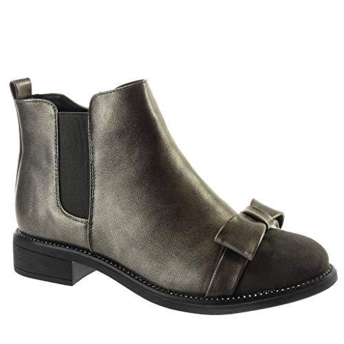 Angkorly - Damen Schuhe Stiefeletten - Chelsea Boots - bi-Material - schick - Fliege - Strass -...
