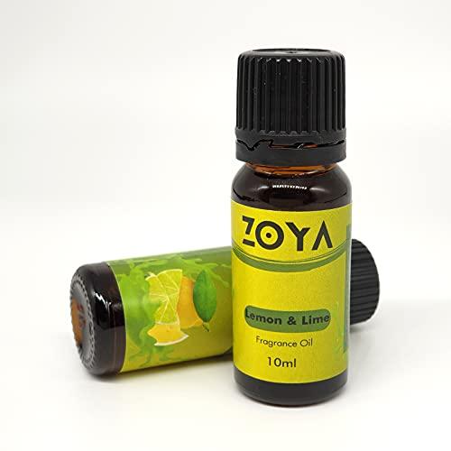 Zoya - Difusor de aroma, humidificador, difusor de cañas, pote Pourri, cera derretida, bomba de baño, fabricación de jabón, fabricación de velas, 10 ml (limón y lima)