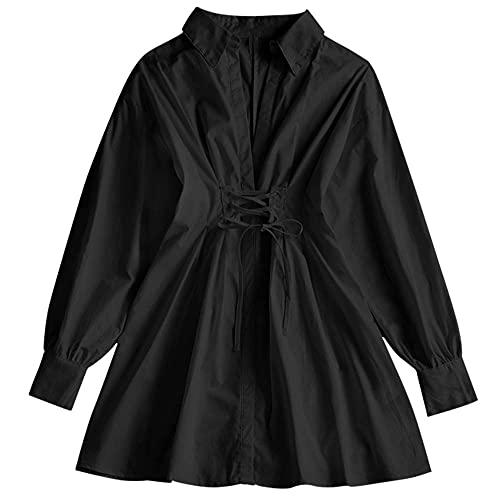 ZAFUL Women's Long Sleeve Lace-up A Line Shirt Dress V Neck Plunging Top Blouse Tunic Shirt Mini Dress Black